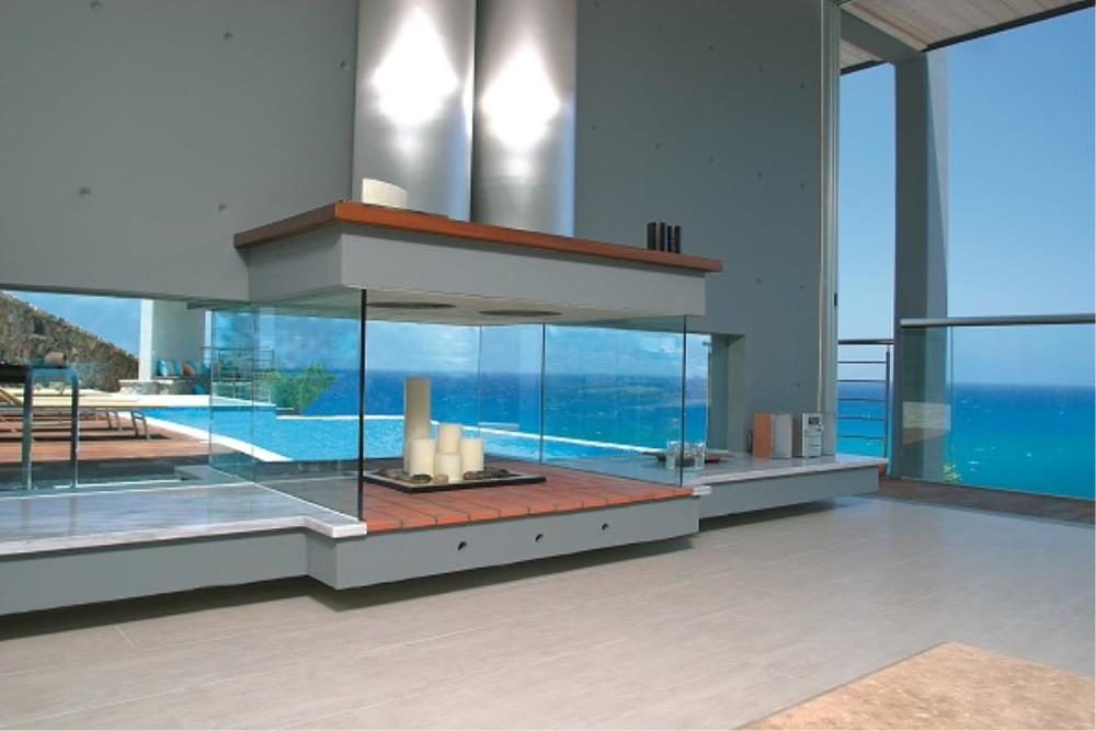 aquamarine fireplace
