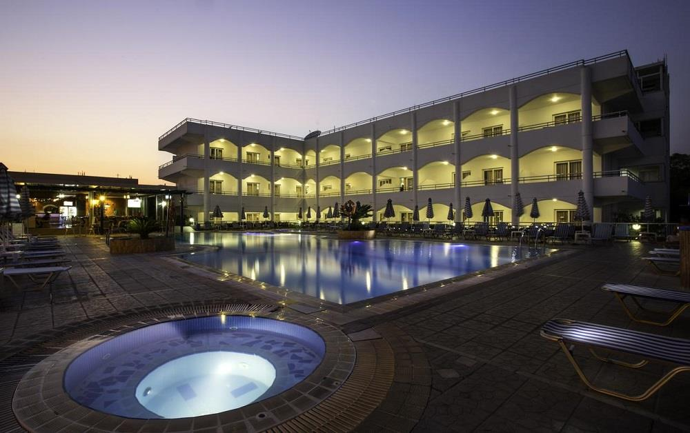 pool and hotel by night