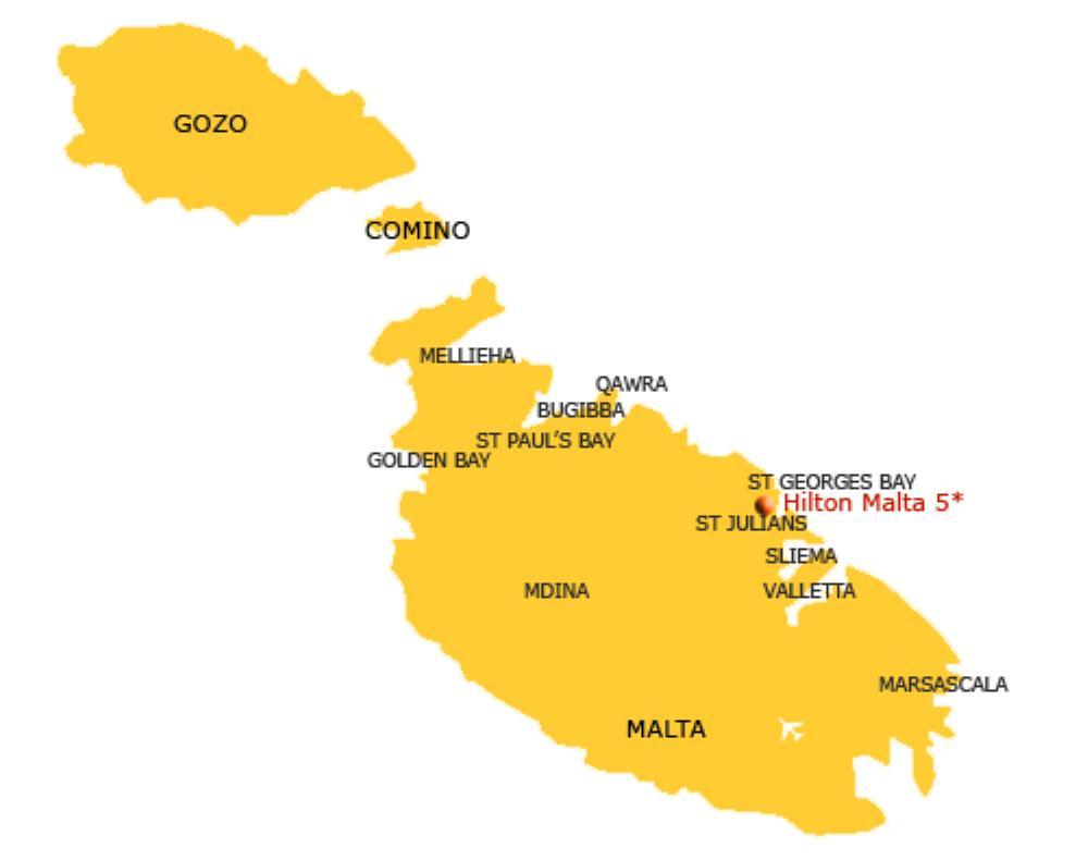 Malta Map - Hilton Malta